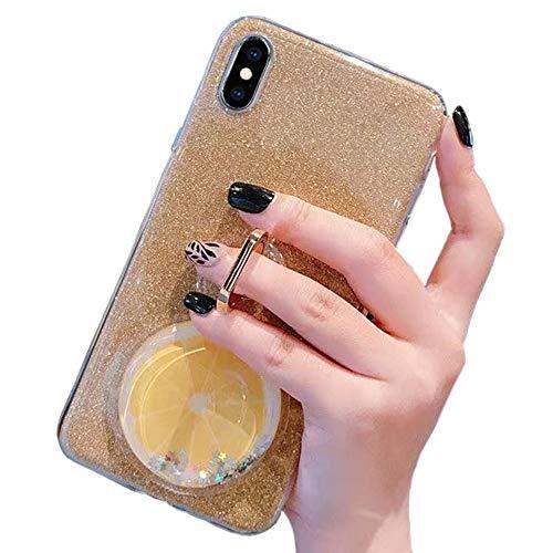 Obesky Bling Glitzer Hülle für Xiaomi Redmi Note 5/Note 5 Pro, Flüssig 3D Kreativ Obst Silikon TPU Bumper Kristall Klar mit 360 Grad Ring Ständer Stoßfest Schutzhülle, Gold