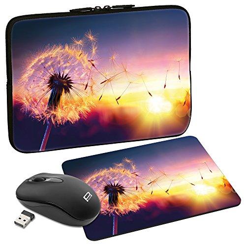 PEDEA Design Schutzhülle Notebook Tasche bis 13,3 Zoll (33,7cm) mit Mauspad & schnurloser Maus, Dandelion