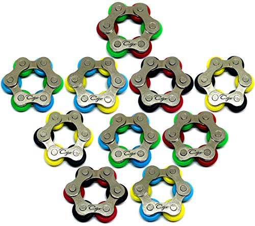 Roller Chain Fidget Toy - Stress Relief Perfect for ADHD, ADD, Anxiety in Classroom, Office, School, Work for Students, Kids or Adults Stocking Stuffers Gifts for Children Bulk (10 Pack)