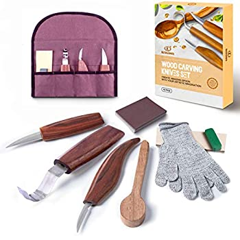 11pcs Wood Carving Tools Kit-K KERNOWO Wood Carving Knife Set with Hook Carving Chip Wood Whittling Knife Carved Spoon Kuksa Cup and Bowl Spoon Carving Tools Kit for Beginners Woodworking