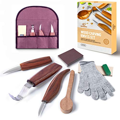 11pcs Wood Carving Tools Kit-K KERNOWO Wood Carving Knife Set with Hook Carving, Chip Wood, Whittling Knife Carved Spoon, Kuksa Cup, and Bowl, Spoon Carving Tools Kit for Beginners Woodworking