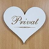 Schild Herz « PRIVAT » ca. 13 x 12 cm - selbstklebendes Türschild Dekoschild Wohnaccessoires - Hinweisschild