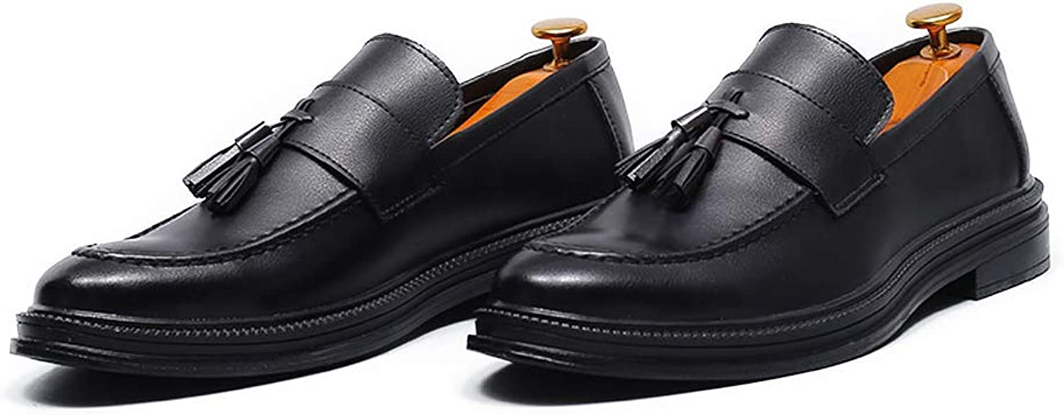Fashion Men's Business Oxford Casual British Style Flexible Tassel Pointed Toe Slip On shoes Men's Boots (color   Black, Size   7.5 UK)