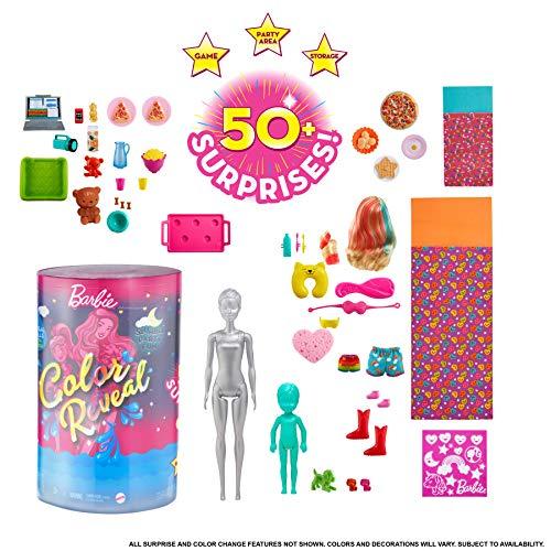 Barbie GRK14 - Color Reveal Pyjama-Party Deluxe Spielset mit 50+ Überraschungen