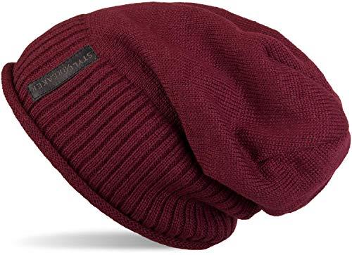 styleBREAKER warme Feinstrick Beanie Mütze mit sehr weichem Fleece Innenfutter, Unisex 04024065, Farbe:Bordeaux-Rot-Violett