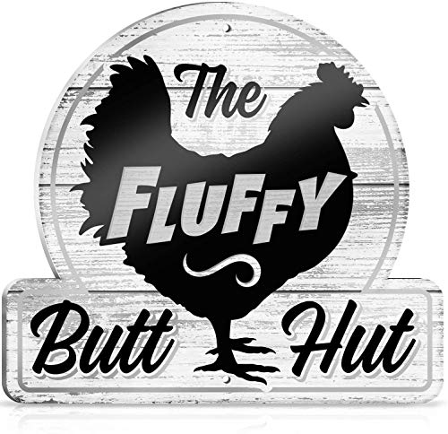 Bigtime Signs Chicken Coop Sign - The Fluffy Butt Hut - Hen House & Rooster Shelter PVC Plaque - Funny Coop, Farm, Home, Kitchen, Outdoor Decorations - Gamefowl Barn, Shed Accessories & Decor