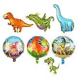 Gqavril12 Globos de Helio Dinosaurios Globos Dinosaurios Gigantes Globos de Aluminio Mylar Globos de Dinosaurio Globos de Helio Reutilizables para Fiesta de niños Globo de cumpleaños (6 Piezas)