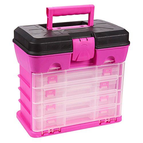 Juvale Storage and Tool Box, Durable Organizer Box with 4 Drawers 13 Compartments for Fishing Tackle, Beads and Craft Accessories (Pink)