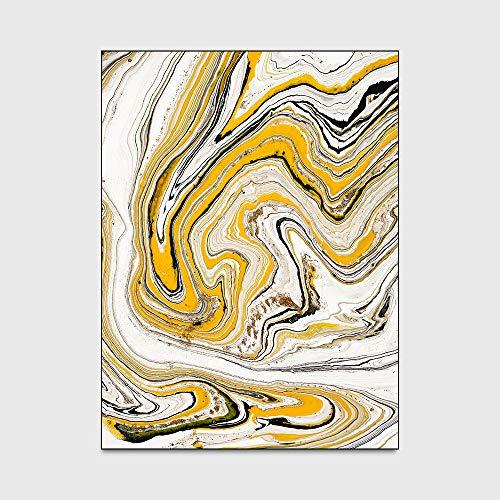 WIVION Moderne Teppiche Abstrakte Aquarell rutschfeste Turnmatte Gelb Weiß Marmor Muster Teppich Wohnzimmer Schlafzimmer Teppich Nachttisch Sofa Fußmatten,120 * 160cm(47x63inch)