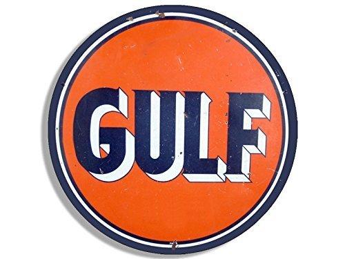 Vintage Runder Gulf Gas Logo Aufkleber Aufkleber (Motoröl Auto Benzin) 10,2 x 10,2 cm