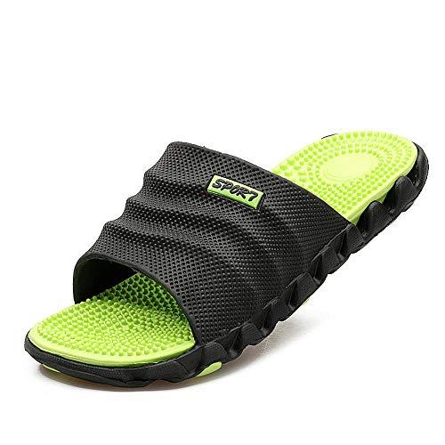 WHYES Anti-Rutsch-Bad Sandalen, Sommermassage Gesundheit Sandalen, Wort Herren Sandalen und Hausschuhe schwarz grün_40