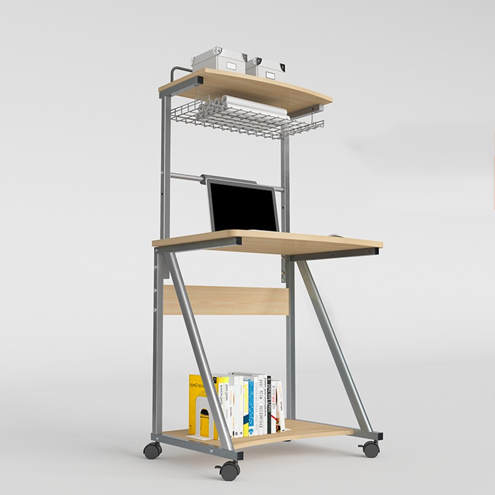 ZR- Escritorio De La Computadora De Escritorio del Hogar De Doble Capa Que Puede Mover La Mesa Simple De Escritorio Simple Y Moderno De 70 Cm (Color : Silver - no Keyboard):