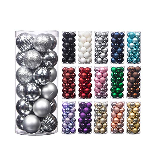Christmas Balls, 24pcs 1.57' Small Size Christmas Tree Ornaments Hanging Christmas Home Decorations for Home House Bar Party(Silver)