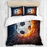 MEJX Bedding Juego de Funda de Edredón,Imagen de balón de fútbol de Alta resolución en Fuego y Agua para Imprimir un Juego de Pelota de fútbol,Microfibra SIN Relleno,(Cama 200x200 + Almohada)