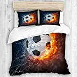 KOSALAER Bedding Juego de Funda de Edredón, Imagen de balón de fútbol de Alta resolución en Fuego y Agua para Imprimir un Juego de Pelota de fútbol, de Almohada de Microfibra,140 x 200cm
