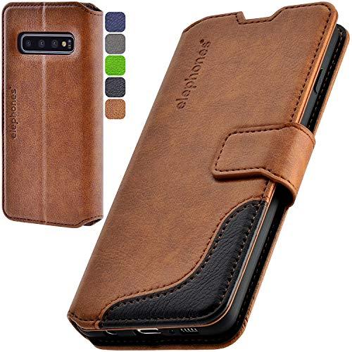 elephones Handyhülle für Samsung Galaxy S10 Hülle mit TÜV geprüftem RFID-Schutz aus PU Leder Samsung Galaxy S10 Schutzhülle Flip Hülle Klapphülle Handytasche für Samsung S10 Braun