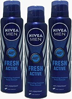 Nivea Deo for Men Spray Antiperspirant, Fresh Active , 150ml (Pack of 3)
