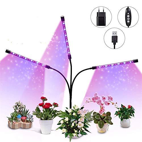 ZWD LED Plant Grow Lights für Zimmerpflanzen mit Timer, 27W DREI-Kopf-Schwanenhals-Pflanzenlichter mit 4 Stufen-Dimmung, Rot, Blaues Spektrum