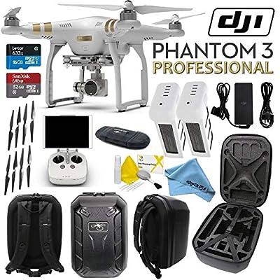 Circuit Streets DJI Phantom 3 Professional Quadcopter Aircraft Bundle with Axis Gimbal, Phantom Battery and Tightening Propeller Set (11 Items)