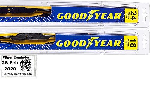Windshield Wiper Blade Set/Kit/Bundle for 2014-2017 Mazda 3 - Driver & Passenger Blades & Reminder Sticker (Premium)