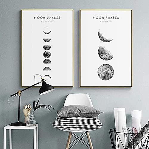 TANXM Póster Impresiones(20x30cm) x2 Sin Marco Lienzo de Fase Lunar e impresión nórdica en Blanco y Negro Paisaje Abstracto Sala de Estar Moderna decoración del hogar