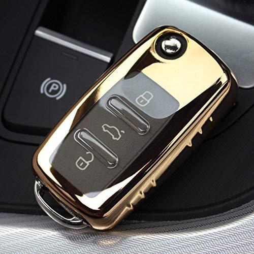 SJIUH Schlüsselhülle,Für Vw Volkswagen Tiguan Passat Polo Skoda ABSAutoschlüsselKlappschalenetuihaltermit Schlüsselring Schlüsselring Kettenschnalle Schlüsselbund, Golden