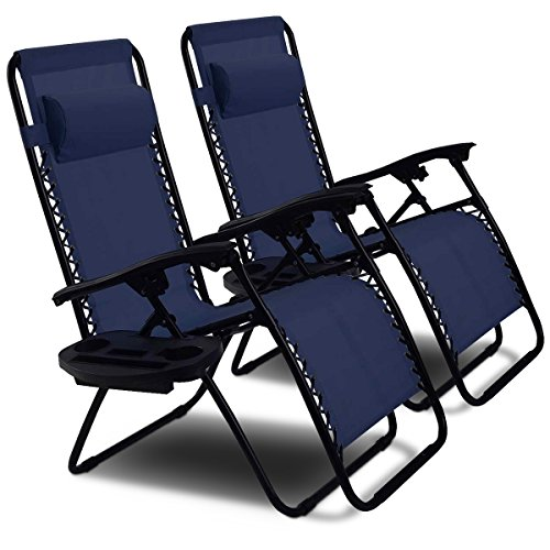 Goplus 2PC Zero Gravity Chairs Lounge Patio Folding Recliner Outdoor Yard Beach with Cup Holder (Blue)