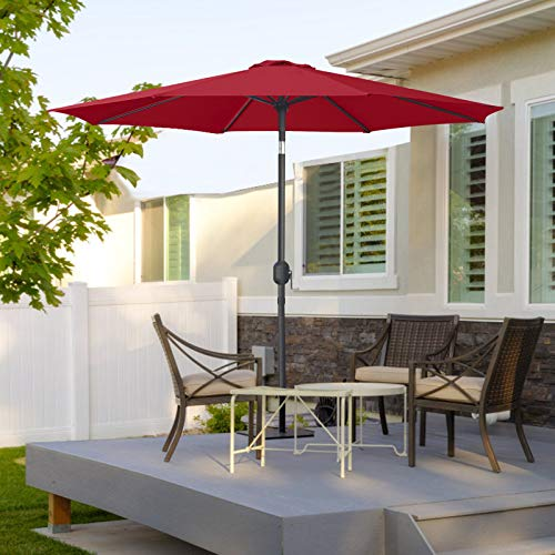 MasterCanopy 270cm Sonnenschirm Fe-Al Market Tischschirm im Freien mit 8 stabilen Rippen,rot