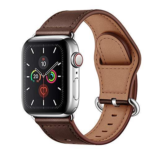 Arktis Armband [echtes Leder] kompatibel mit Apple Watch (SE, Series 6, Series 5, Series 4-40 mm) (Series 3, Series 2, Series 1-38 mm) Lederband mit Edelstahlschließe und Adapter - Dunkelbraun