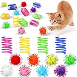 72 Pieces Cat Spring Toys Set 36 Plastic Coils Spring Cat Toys Durable Spiral Spring Kitten Toy and 36 Colorful Pom Pom Balls Cat Plush Chew Ball Cat Interactive Bite Balls Fur Ball for Kitten Cat Pet