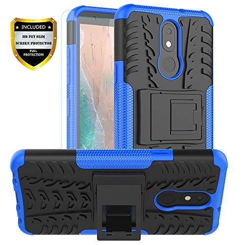 PUSHIMEI LG Aristo 4 Plus case with HD Screen Protector,LG Neon Plus/Tribute Royal/Prime2/Escape Plus/Arena 2/Journey LTE Dual Layer Protection Kickstand Phone Case Cover for LG Aristo 4+ Plus(Blue)