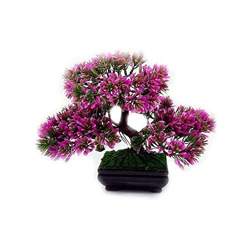 Isuper Las Plantas Artificiales Bonsai Planta de Tiesto Mini simulación Sale de la Flor Plantas para Decoración Interior (Rojo) para su casa
