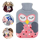 Hot Water Bottle with Cover,GEYUEYA Home Premium 2L Pure Natural Rubber Hot Cold Pack with Knitted Cover,Classic Water Bag for Back Neck Waist Legs Bed Warm Gift for Women Girls Kids (Cartoon Owl)
