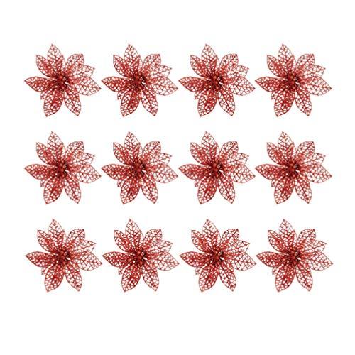 STOBOK 20pcs Glitter Flor de Navidad Poinsettias Decoraciones para árboles de Navidad Adornos Manualidades DIY de Navidad (Rojo)
