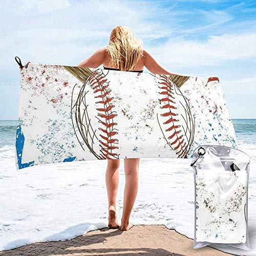 Toalla De Playa De Secado Rápido Bates De Béisbol Dibujados A Mano Y Pelotas De Microfibra Impresas Toallas De Baño Ligeras Adecuadas para El Hogar Niños Y Adultos Camping Natación Yoga 27.5x55