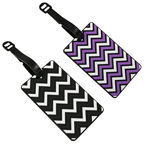 Set of 2 Zig Zag Rubber 3D Travel Holiday Luggage Name Tags Choose Your Pair (Purple & Black)