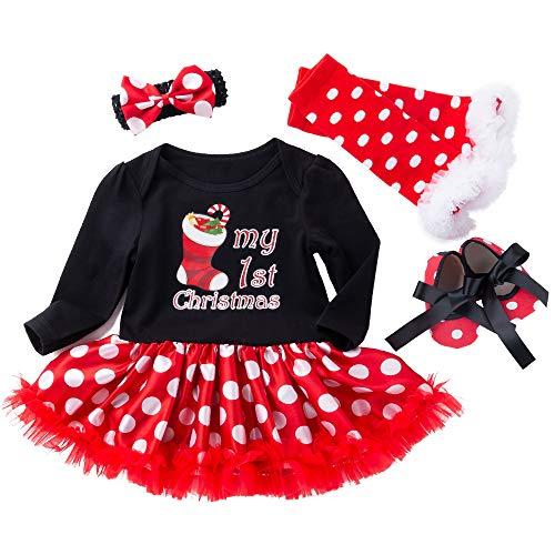 Pasgeboren Peuter Baby Meisje Mijn 1e eerste Kerst Katoen Lange Mouw Romper Jurk + Hoofdband + Beenwarmers + Schoenen 4 STKS Xmas Outfit Prinses Polka Dots Tutu Verjaardagsfeest Kleding Set