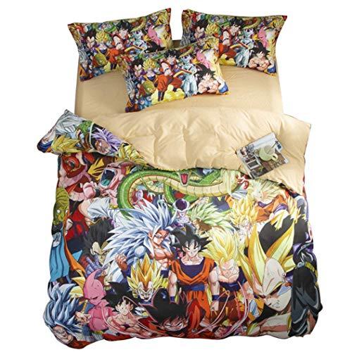 227 QINIMEN - Juego de funda de edredón y 2 fundas de almohada, diseño de bola de anime en 3D, 1 funda de edredón y 2 fundas de almohada/suave, tamaño Queen
