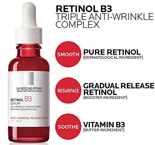 La Roche-Posay Pure Retinol Face Serum with Vitamin B3. Anti Aging Face Serum for Lines, Wrinkles & Premature Sun Damage to Resurface & Hydrate. Suitable for Sensitive Skin, 1.0 Fl. Oz