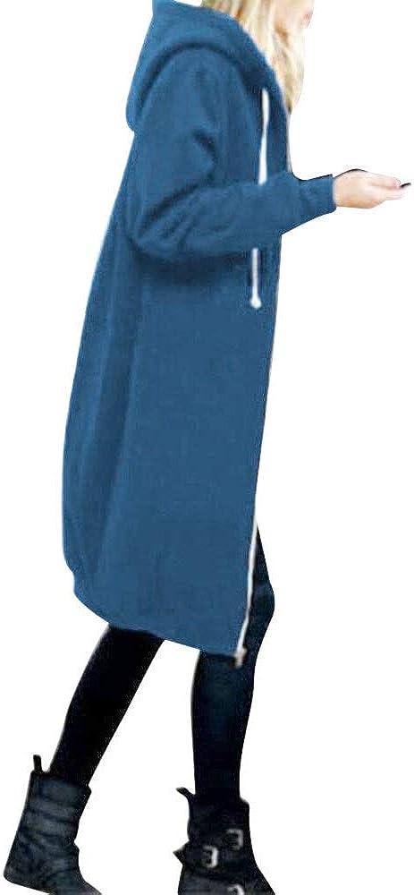 Women's Warm Zipper Open Hoodies Sweatshirt Long Coat Jacket Outwear Wool Trench Womens Hooded Windbreaker Overcoat Top