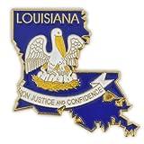 PinMart State Shape of Louisiana and Louisiana Flag Lapel Pin