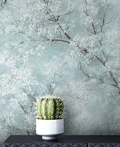NEWROOM Tapete Blau Vliestapete Leicht Glänzend - Blumentapete Floral Türkis Weiß Baum Blätter Mustertapete Modern Natur inkl. Tapezier-Ratgeber