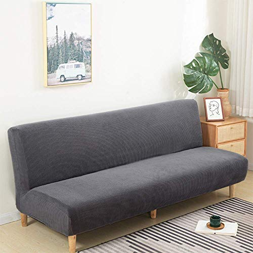 QYYL Armless Sofa Bed Cover, Stretch Futon Slipcover Protector, Folding Couch Sofa Cover, Non-Slip Washable Fits for 2-3 Seater Folding Sofa Bed (Dark gray)