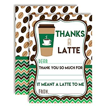 Thanks A Latte Green and Brown Coffee Themed Thank You Notes Ten 4  x 5.5  Fill In the Blank Cards with 10 White Envelopes by AmandaCreation
