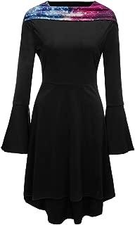 Women Dresses,Fashion Women Long Sleeve Hoodie Sky Star Print Midi Flare Long Sleeve Dress
