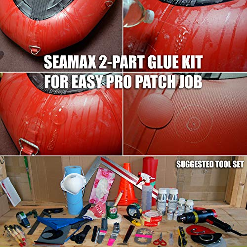 Seamax Commercial Grade 2 Part Marine Adhesive for All PVC and Hypalon Inflatable Boats, Sealed in Aluminum Bottles for Long Term Storage (Hypalon 250ml 2 Part Glue, Glue Only)