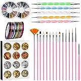 NATUCE 64PCS Kit de Accesorios Decoración Uñas Nail Art, Kit de Diseño de Arte de Uña, 15pcs Pinceles para Uñas, 30pcs Rollos de Cintas Adhesivas Uñas, 5pcs de Lápiz de Punto, 2 Diamantes de Uñas
