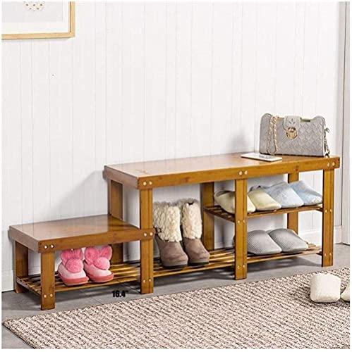 ZAIHW Banco de Zapatos para Padres e Hijos, Banco de Zapatos de bambú para Entrada, Pasillo, Dormitorio y Armario Taburete para Cambiar Zapatos