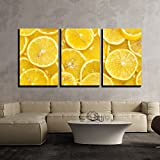 wall26 - 3 Piece Canvas Wall Art - Background of Sliced Ripe Lemons Organic, Pattern - Modern Home Art Stretched and Framed Ready to Hang - 16'x24'x3 Panels
