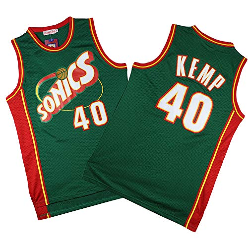 MMQQL Herren Trikot - Oklahoma City Thunder (Seattle Supersonics) # 40 Shawn Kemp Basketball Ärmelloses Top Fan Retro Version T-Shirt,Xxl185~190cm/95~110kg